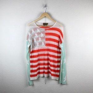 Wildfox l American Flag Stars Stripes Knit Sweater